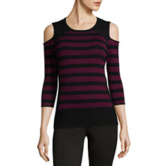 by&by 3/4 Sleeve Round Neck Stripe Pullover Sweater-Juniors