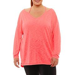 Xersion Long Sleeve Round Neck T-Shirt-Womens Plus