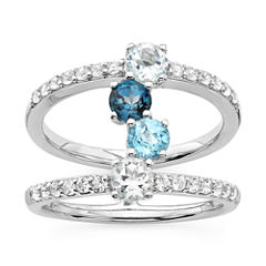 Womens Blue Topaz Sterling Silver Cocktail Ring
