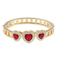 Monet Red And Goldtone Stretch Bracelet