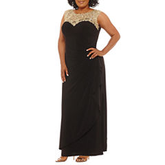 Atelier Danielle Sleeveless Applique Embellished Embroidered Evening Gown-Plus