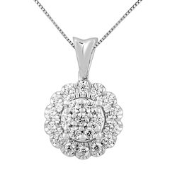 Diamond Blossom Womens 3/8 CT. T.W. White Diamond 14K Gold Pendant Necklace
