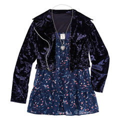 Arizona Floral Tiered Tunic Top with Velvet Moto Jacket & Necklace - Girls' 7-16 and Plus