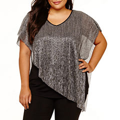 Alyx Short Sleeve V Neck Knit Blouse-Plus
