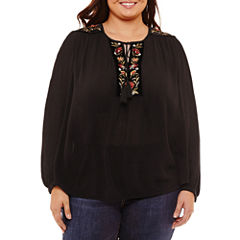St. John's Bay Long Sleeve Embroidered Blouse-Plus