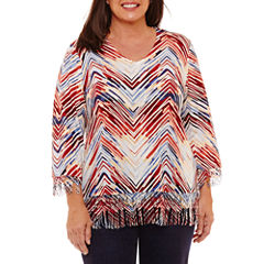 Alfred Dunner Gypsy Moon 3/4 Sleeve V Neck Zig Zag Fringe Sweater-Plus