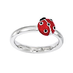 Personally Stackable Sterling Silver Ladybug Stackable Ring