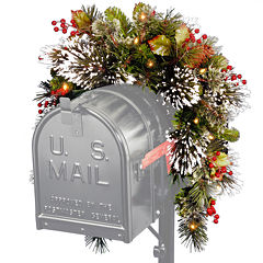 National Tree Company® 3' Wintery Pine Collection Mailbox Swag with Battery-Operated LED Lights
