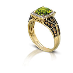 Grand Sample Sale™ by Le Vian®  Green Apple Peridot™ & 3/8 CT. T.W.  Vanilla Diamonds® and Chocolate Diamonds® in 14K Honey Gold™ Chocolatier® Ring