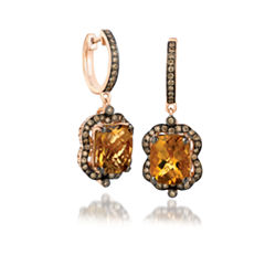 Grand Sample Sale™ by Le Vian® Chocolate Quartz® & 5/8 CT. T.W. Chocolate Diamonds® in 14k Strawberry Gold® Chocolatier® Earrings