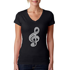 Los Angeles Pop Art Women's V-Neck T-Shirt - MusicNote