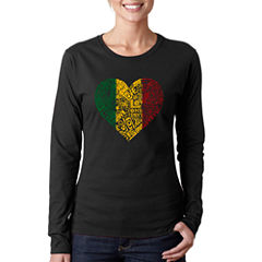 Los Angeles Pop Art Women's Long Sleeve T-Shirt -One Love Heart
