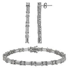 Diamonart Sterling Silver 1/3 CT. T.W. Cubic Zirconia 2-pc. Tennis Jewelry Set