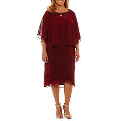 Maya Brooke 3/4 Sleeve Beaded Sheath Dress-Plus
