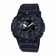Casio Mens Black Strap Watch-Aeq100w-1bv