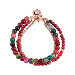 Footnotes Womens Red Silver Over Brass Beaded Bracelet