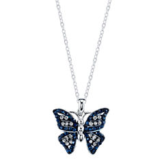 Crystal Sophistication Sparkle Allure Womens Blue Pendant Necklace
