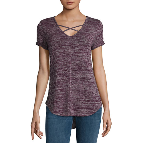 a.n.a Short Sleeve V Neck T-Shirt-Womens Talls