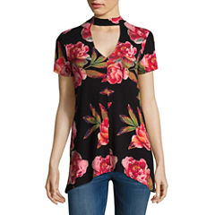 a.n.a Short Sleeve Knit Floral Blouse-Talls