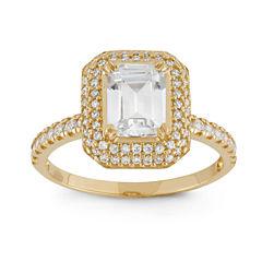 Diamonart Womens 2 1/4 CT. T.W. Lab Created Emerald White Cubic Zirconia 10K Gold Engagement Ring