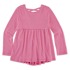 Arizona Round Neck Long Sleeve Fitted Sleeve Blouse - Toddler Girls