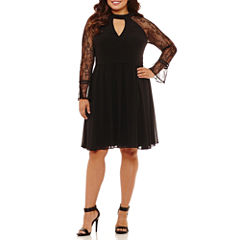 My Michelle Long Sleeve Party Dress-Juniors Plus