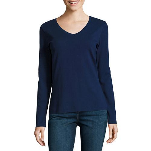 St. John's Bay Long Sleeve V Neck T-Shirt-Womens Talls