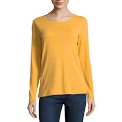 St. John's Bay Long Sleeve Crew Neck T-Shirt-Womens Talls