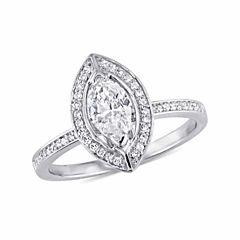 Womens 3/4 CT. T.W. Genuine Marquise White Diamond 14K Gold Engagement Ring