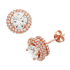 2 CT. T.W. Round White Cubic Zirconia 10K Gold Stud Earrings