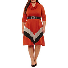 Robbie Bee 3/4 Sleeve Chevron Fit & Flare Dress-Plus