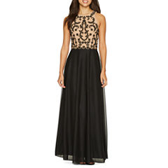 Jackie Jon Sleeveless Embroidered Evening Gown