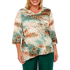 Alfred Dunner Emerald Isle 3/4 Sleeve V Neck Animal T-Shirt-Womens Plus