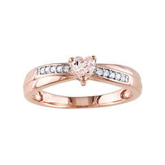 Genuine Morganite & Diamond-Accent Heart-Shaped Ring