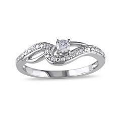 1/7 CT. T.W. Diamond 10K White Gold Swirl Promise Ring