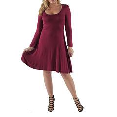 24/7 Comfort Apparel Casual Fit & Flare Dress-Plus