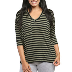 24/7 Comfort Apparel Striped Dolman T-Shirt-Womens