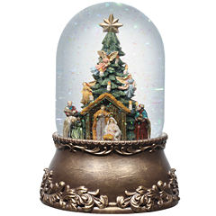 Roman Nativity with Tree Glitter Snow Globe