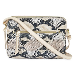 Faux Snake Zip Crossbody Bag