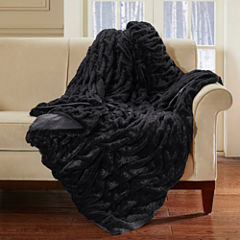 Lifestyle Solid Ruched Fur Oversized Throw