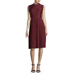 Libby Edelman Sleeveless Pleated Lace Dress