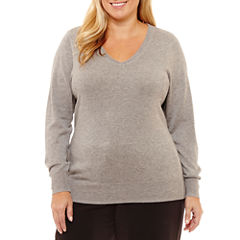 Worthington Long Sleeve V Neck Pullover Sweater-Plus