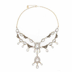 Monet Jewelry clear And Goldtone Drama Necklace