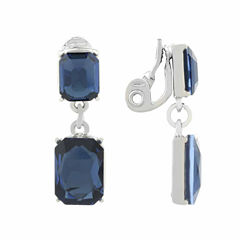Monet Jewelry Blue Silvertone Double Drop Clip Earring