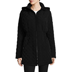 St. John's Bay Hooded Quilted Jacket-Tall