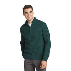 IZOD Fieldhouse Cable-Knit Quarter-Zip Sweater