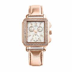 Geneva Womens Rose Goldtone Strap Watch-Pt1820rgrg