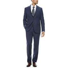 Stafford Travel Stretch Blue Windowpane Suit Separate-Classic Fit