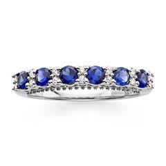 I Said Yes™ 1/7 CT. T.W. Diamond and Lab-Created Blue Sapphire 9mm Wedding Band