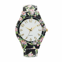 Fashion Watches Womens White Dial Black Bangle Watch
